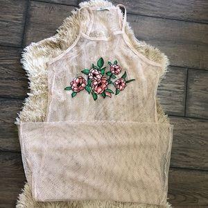 Zara Trafaluc Mesh Rose Embroidered Maxi Cover Up